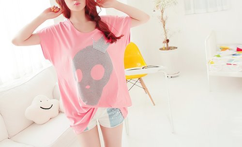 fashion, pink, short, skull, white
