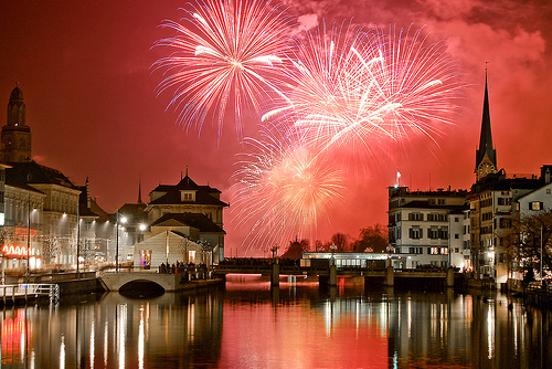 fireworks, pink, reflections, water