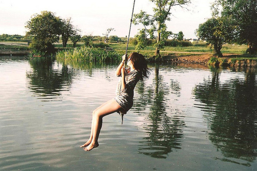 free, girl, nature, swing, water
