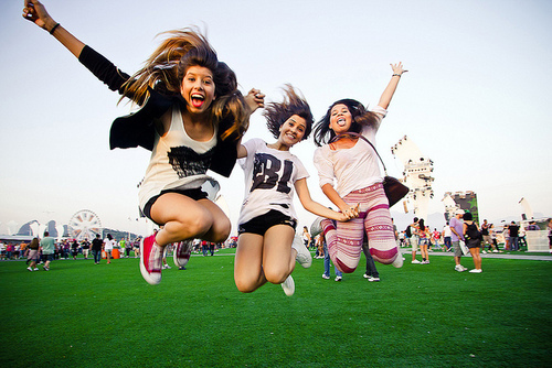 friends, girl, girls, jump