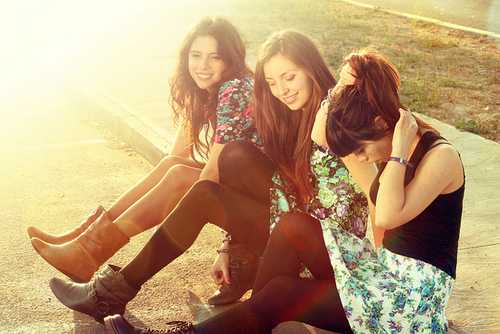 friends, girls, photograph, sun