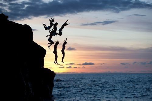 friends, jump, sea, sunset, swim