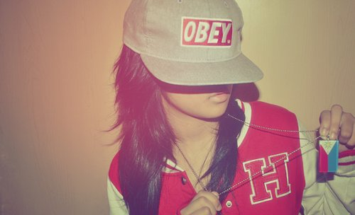 girl, hair, jacket, letterman, neclace, pretty, red, swag