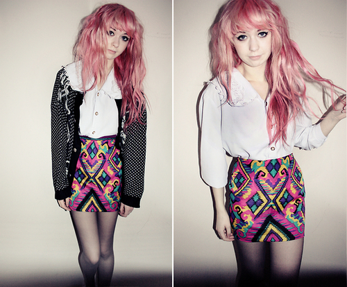 girl, hair, pink hair, skirt
