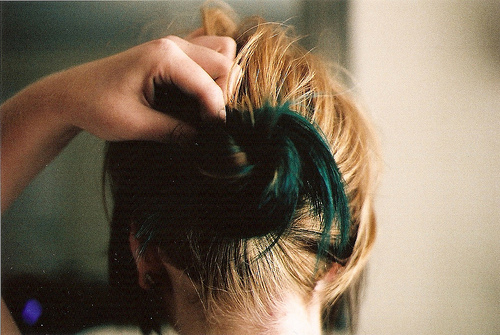 girl, hair, teal