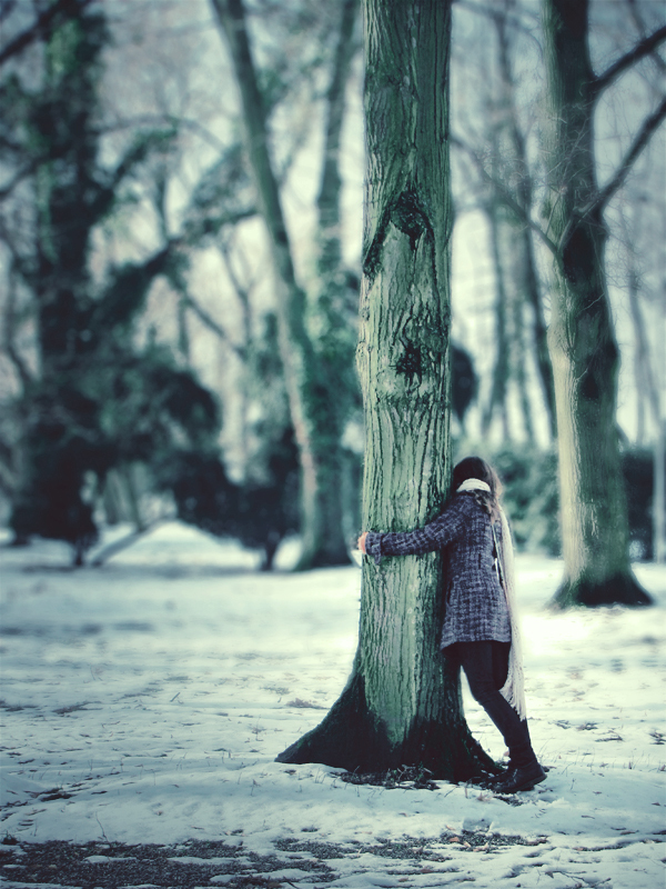 girl, nature, portrait, tree, treehugger