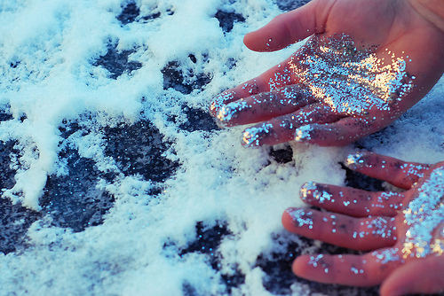 glitter, hands, snow, sparkles, winter