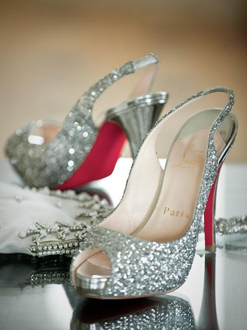 glitter, high heels, louboutin, paris, red sole, shoes, sparkle