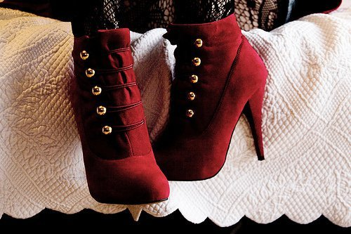 heels, red, shoes