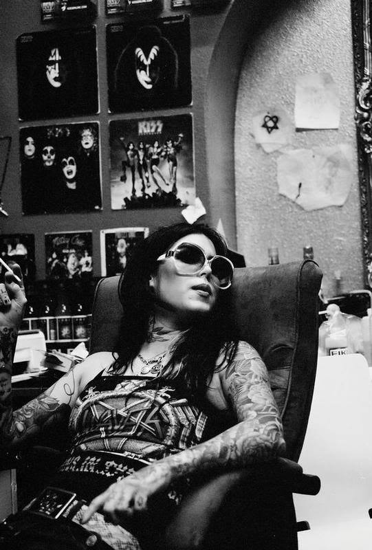 high voltage tattoos, kat von d, kiss, motley cure, smoking, sun glasses, tattoos