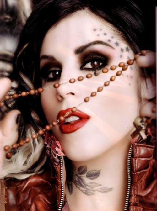 high voltage tattoos, kat von d, la ink, makeup, red lipstick