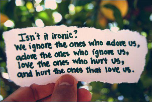 hurt, ignore, ironic, love, paper, text