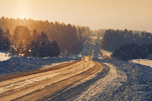 landscape, mountains, photography, road, snow, trees, winter