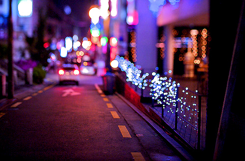 lights, night, photography, street