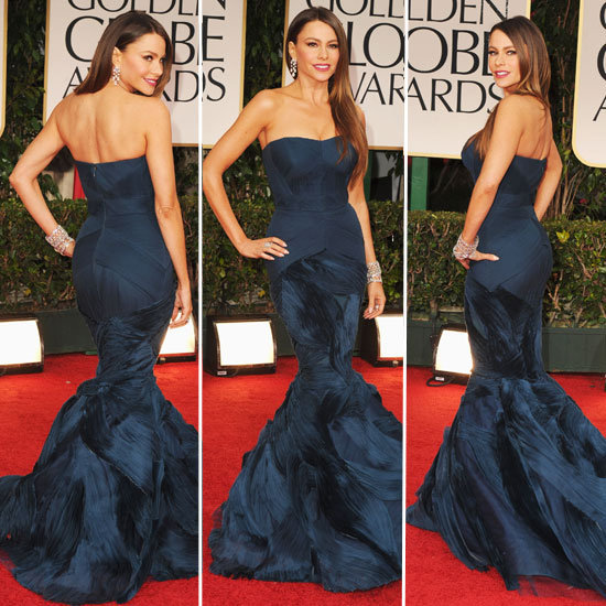 2012, beautiful, blue, blue dress, body, dress, family, fashion, globes, golden, modern, modern family, sofia, sofia vergara, vergara