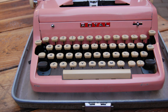 50s, 60s, desk, office, pink, royal, typewriter, vintage