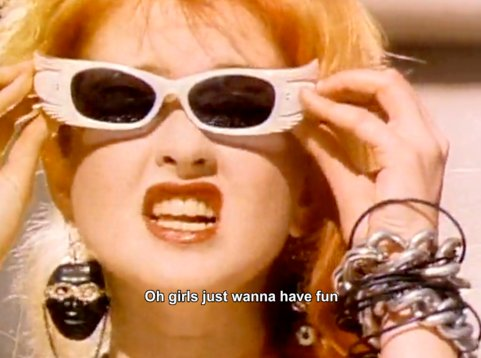 80s, cindy lauper, fun, girl, sunglasses