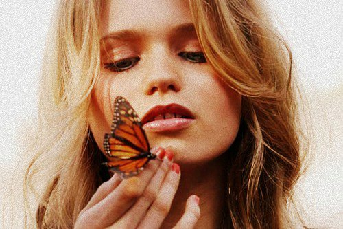abbey lee kershaw, beautiful, blonde, butterfly, colours, cuite, cute, face, girl, hair, look, nails, nice, photo, photography, red, teeth, tty, vintage