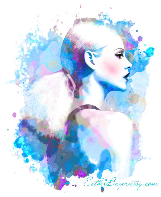 abstract, aqua, art, blue, colorful, drawing, esther bayer, fashion, fashion illustration, fashion illustrations, fashion sketch, fashion sketches, girl, illustration, illustrations, model, painting, portrait, profile, sketch, sketches, water, watercolor