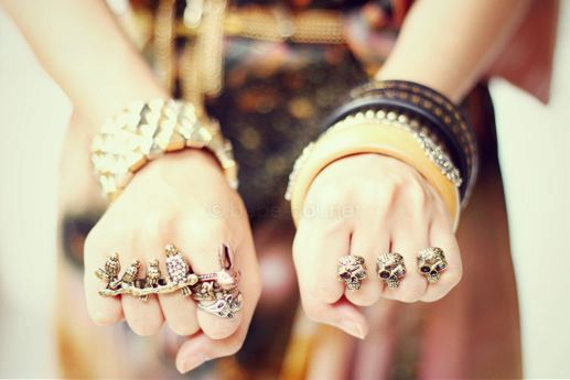 accessories, artistic, awesome, bangles, beautiful, bohemian, clothes, connector ring, dress, fashion, girl, glamour, gold, love, outfit, rings, silver, skull, want, wear, yellow