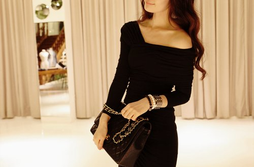 accessories, asian, bag, beautiful, black, black dress, bracelet, brown, curly hair, fashion, girl, k-fashion, kawaii, kfashion, korean, photography, smile