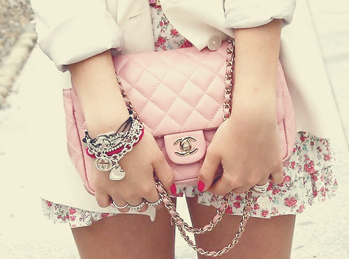 accessories, bag, chanel, cute, flowers, girl, pink, skirt