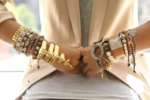 accessories, beads, blazer, bracelets, cuffs, cute, fashion, studded bracelets, studs, white, white blazer