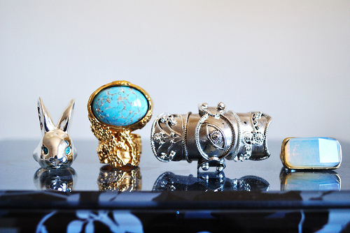 accessories, blue, cool, four, gold, rabbit, ring, rings, silver