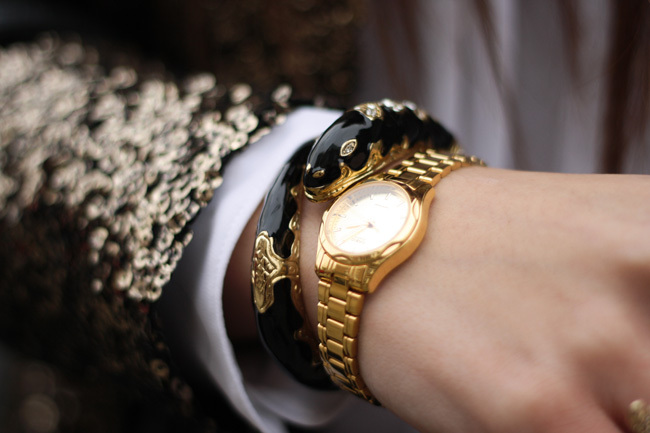 accessories, fashion, gold, sequins, style