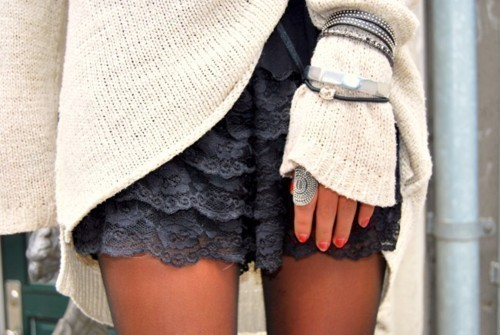 accessorize, black, bracelet, bracelets, clothes, cute, dress, fashion, girl, girls, jewelry, jumper, lace, layers, legs, long, nails, photography, pretty, ring, short, skin, skirt, sweater, woman
