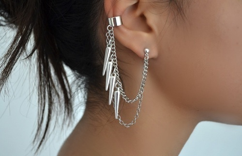 accessorize, brunette, chain, ear cuff, earing
