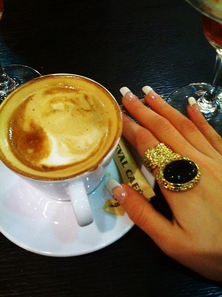 acrylic nails, black, capuccino, coffee, drink, food, gold, golden, hand, hands, jewel, jewelry, nail, nails, ring, ysl, ysl ring, yves saint laurent