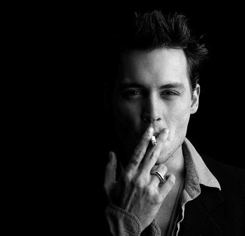 actor, amazing, b&w, beautiful, black and write, cute, depp, eyes, famous, fashion, hair, image, johnny depp, perfect, photo, photography, picture, pretty, sexy, smoke, style, tattoo