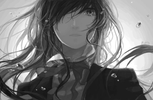 adorable, amazing, anime, art, b&w, beautiful, black & white, black and white, cry, cute, draw, eyes, fashion, female, girl, hair, illustration, image, kawaii, perfect, sad, style