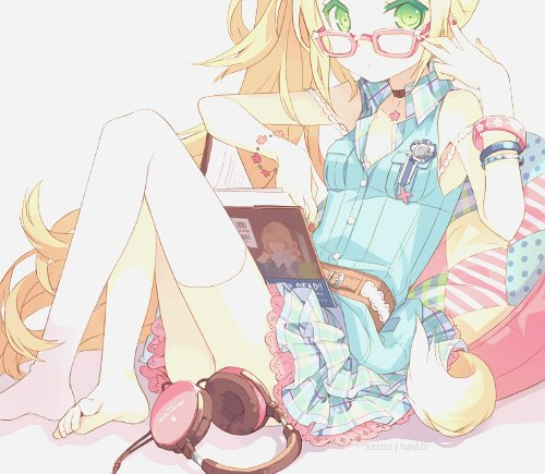 adorable, amazing, anime, art, beautiful, blonde, dress, perfect, draw, female, kawaii, image, illustration, pretty, fashion, cute, style, glasses, girl