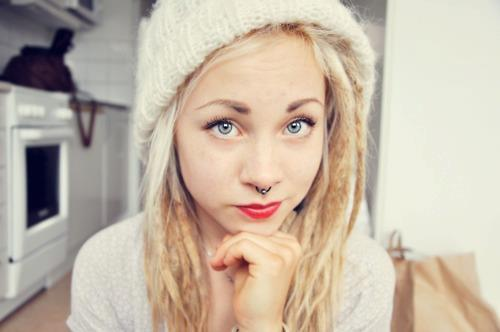 adorable, amazing, aww, blonde, blue eyes, cute, dread, dread locks, eyes, girl, gorgeous, hair, lipstick, lovely, model, perfect, photography, piercing, septum, style