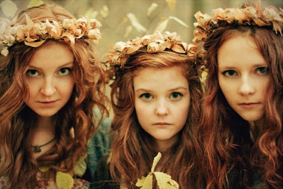 adorable, autumn, blue eyes, curls, cute, cute girls, fairytales, ginger, girls, green eyes, hair, portrait, red hair, sisters, wreaths
