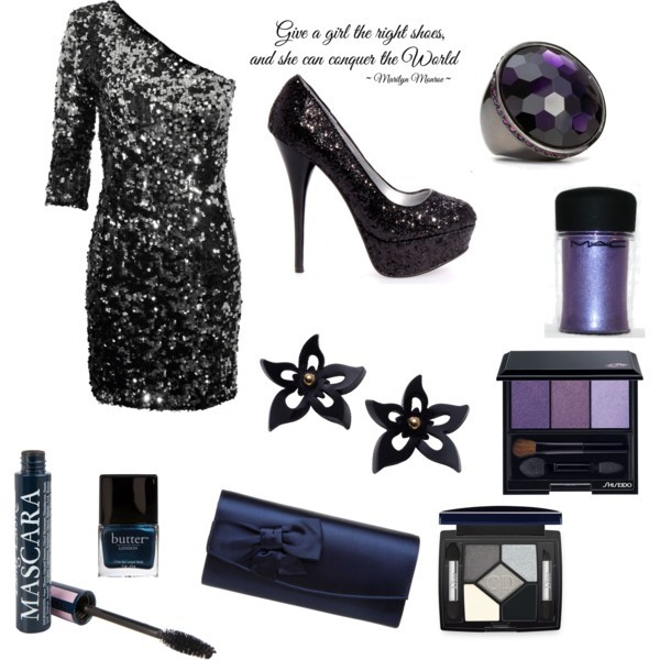 adorable, bag, black, dress, dresses, earings, fantastic, fashion, high heels, kapege, letter, night, outgoing, purple, purse, ring, style