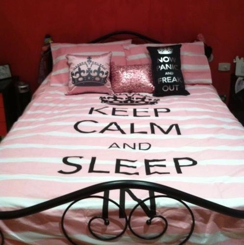 adorable, bed, bedroom, big time rush, cute, girl, keep calm, pillows, pink, pink and white, princess, quote, sleep, stripes, sweet, text
