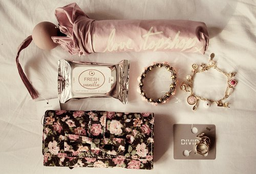 adorable, clutch, flowers, girl, girly, jewerly, pink, umbrella