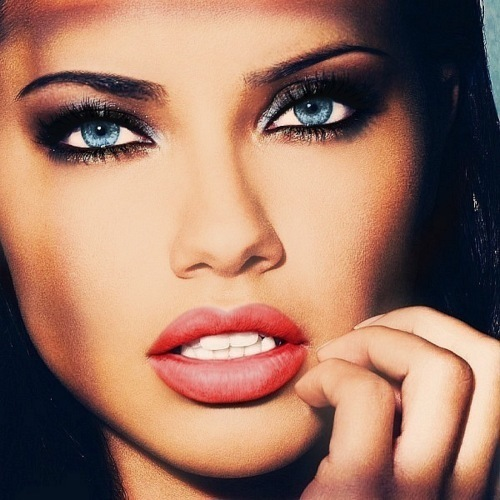 adriana lima, beautiful, beutifukl, blue eyes, brunnete, coral lips, eyes, girl, hot, lip, lipstick, pretty, sexy, sexy girl, tanned