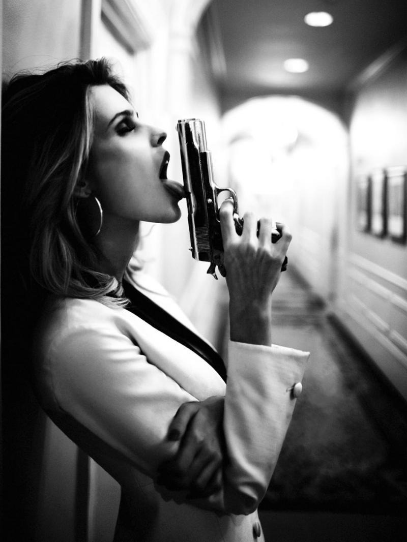 agent, fashion, girl, gun, hair