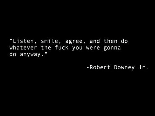 agree, fuck, listen, quote, robet downey