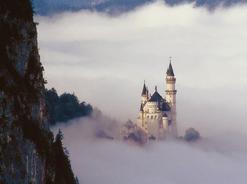 air, blue, castle, clouds, fairytale