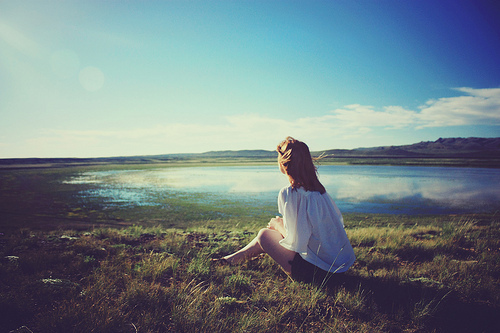 air, blue, clouds, dream, free, girl, grass, green, horizont, lake, nature, sky, white