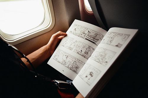 airplane, book, comic book, comic books, hands