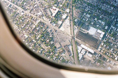 airplane, buildings, city, cityscape, ophidiophobic, plane, trees, view, ville, window
