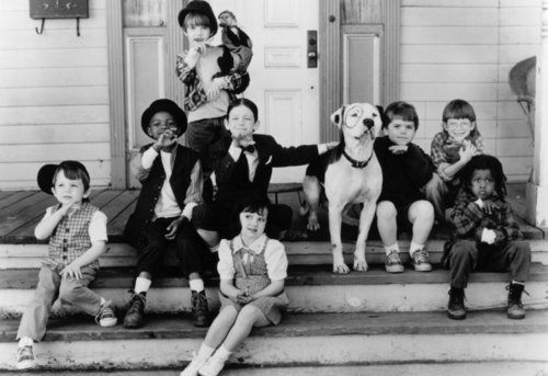 alfalfa, cute, darla, froggy, movie, porch, spanky, spot, the gang, vintage