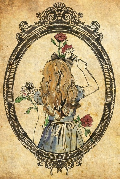 alice in wonderland, art, beautiful, girl, love, painting, the roses red