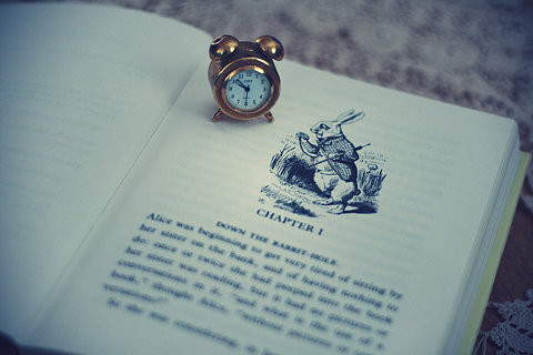 alice in wonderland, book, clock, rabbit
